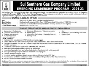 Sui Southern Gas Company Limited NTS Two Year Trainee Program 2021