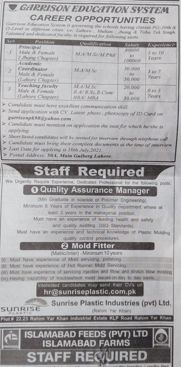 Sunrise Plastic Industries Jobs in Rahim Yar Khan 2021 Pakistan