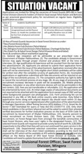 Swat Forest Division Jobs 2021 for Forest Guards