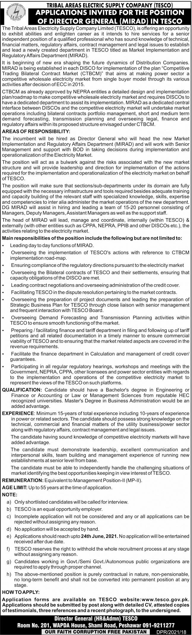 TESCO Jobs Peshawar 2021 at Tribal Electric Supply Company