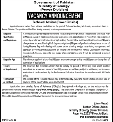 Technical Advisor Jobs June 2021 at Ministry Of Energy Power Division Islamabad