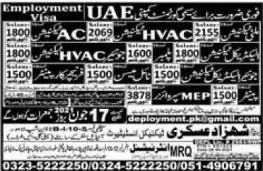 UAE Jobs 2021 for Multi Technician, Electrical Technician, Car Painter, Meson etc