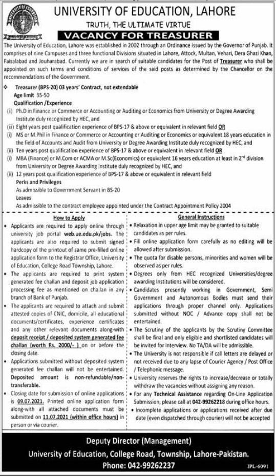 UO Lahore Jobs 2021 University of Education Lahore Advertisement 2021