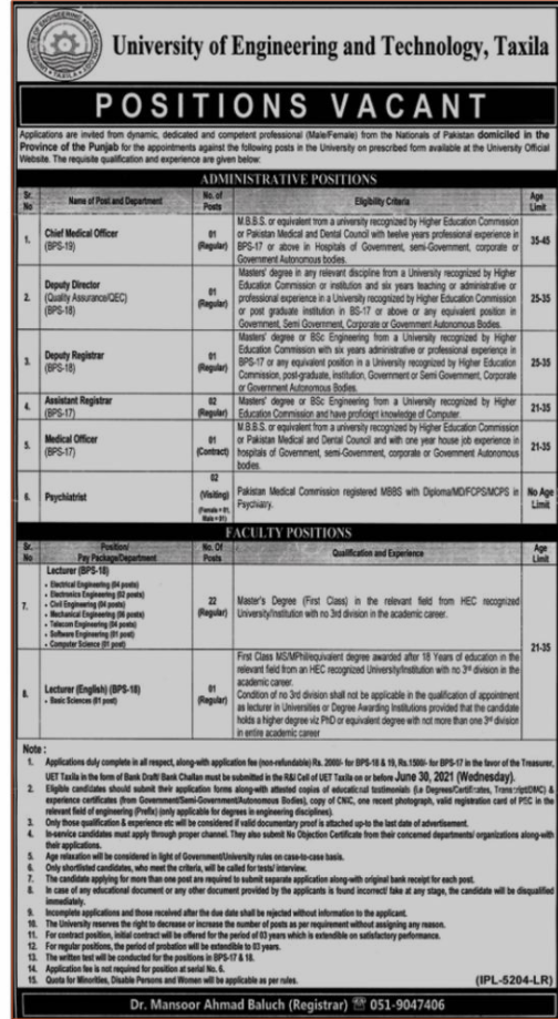 University Of Engineering And Technology Uet Taxila Latest Teaching Jobs 2021