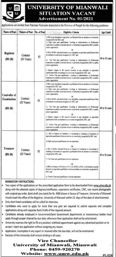 University Of Mianwali Administration Latest Jobs 2021