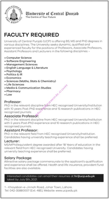 University of Central Punjab Jobs 2021 for Professor-Lecturer