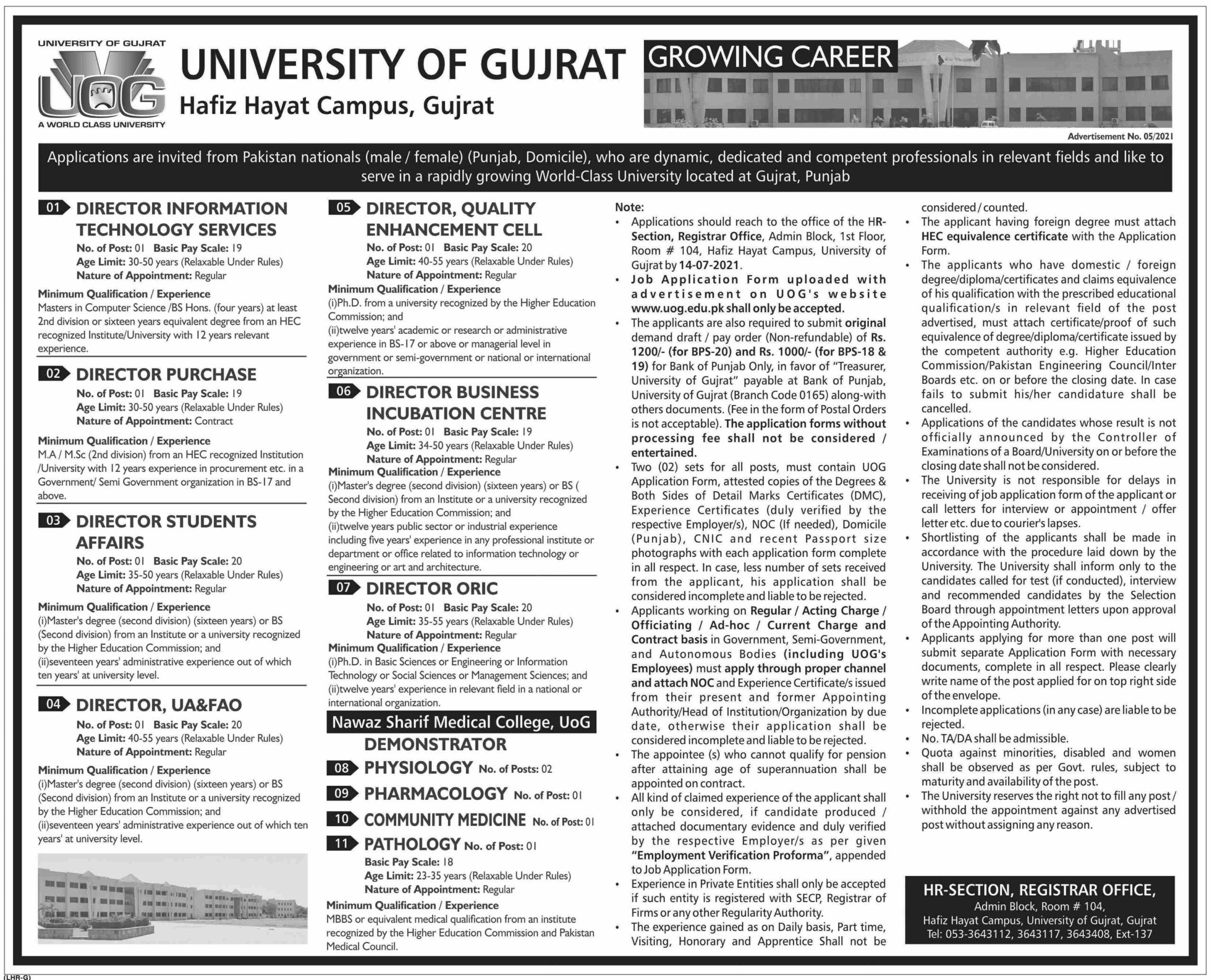 University of Gujrat UOG Jobs June 2021 for Director