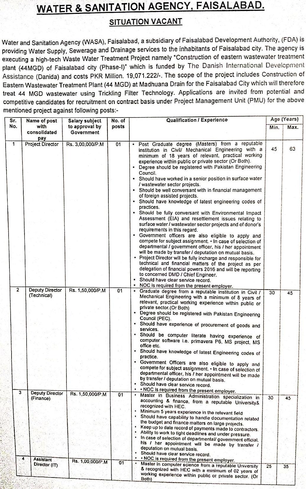 WASA Faisalabad NTS Jobs 2021 Online Apply