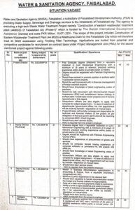 Water and Sanitation Agency, Faisalabad NTS Jobs 2021 (Phase-I) Waste Water Treatment Plant (44MGD)