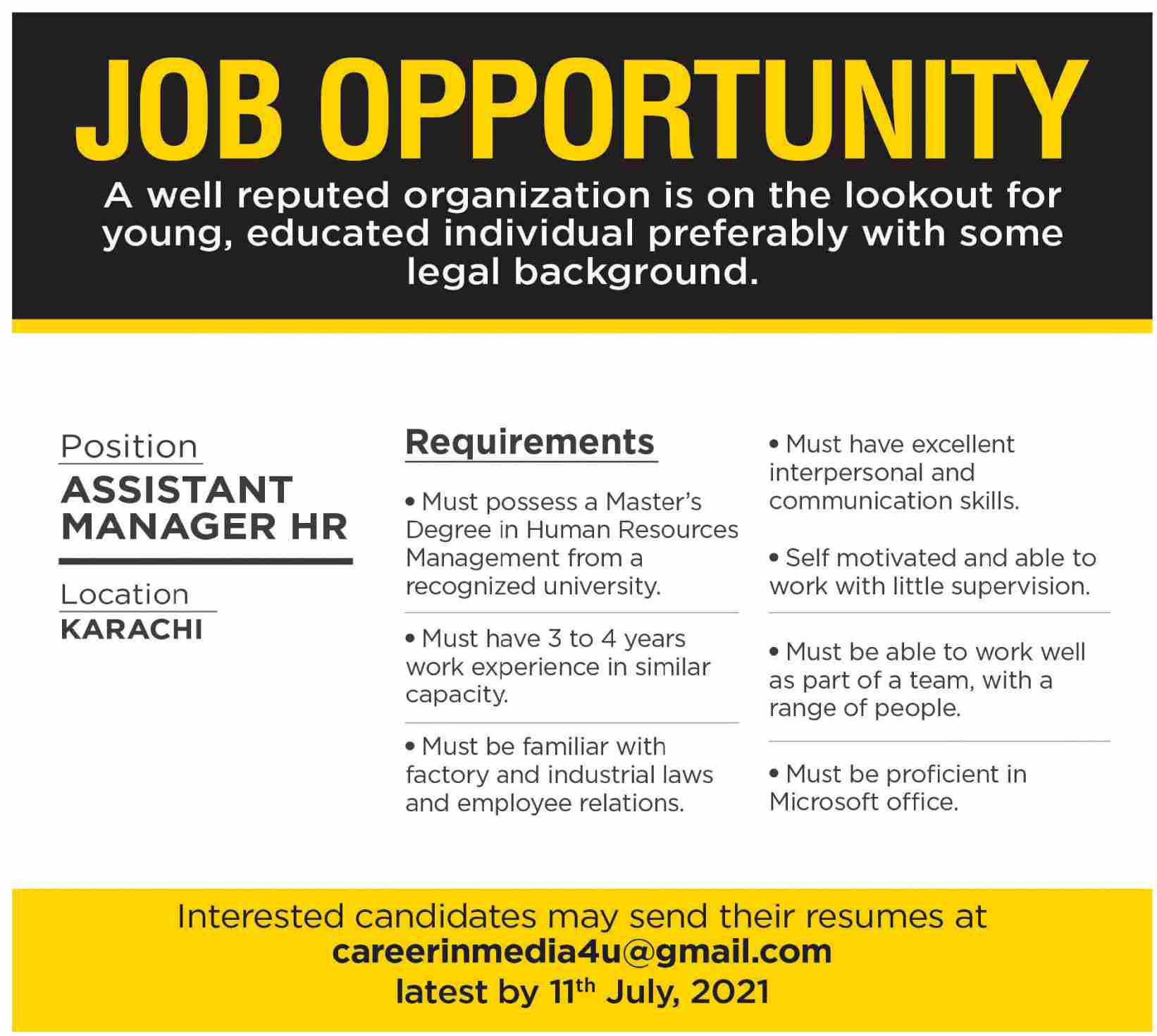 Assistant Manager HR Karachi Private Jobs 2021