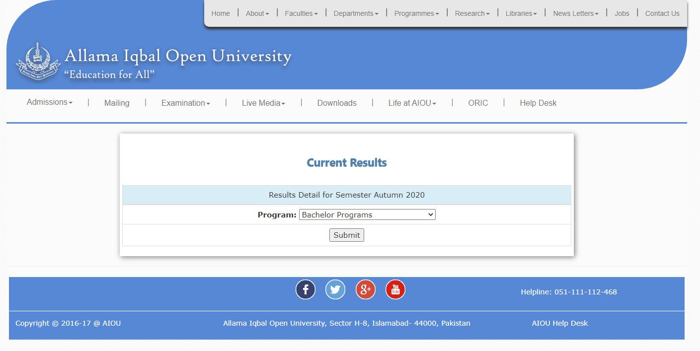 BA Result Autumn 2020 Allama Iqbal Open University AIOU