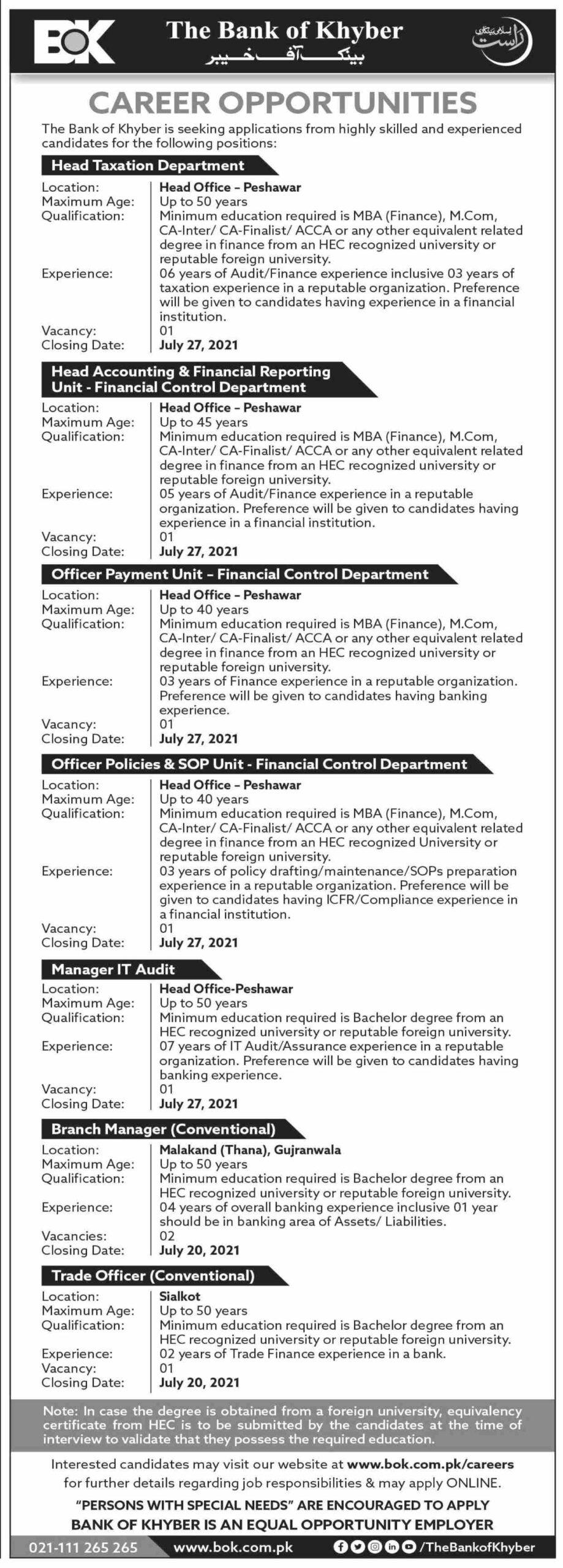 Bank Of Khyber Peshawar Jobs 2021 Apply Online