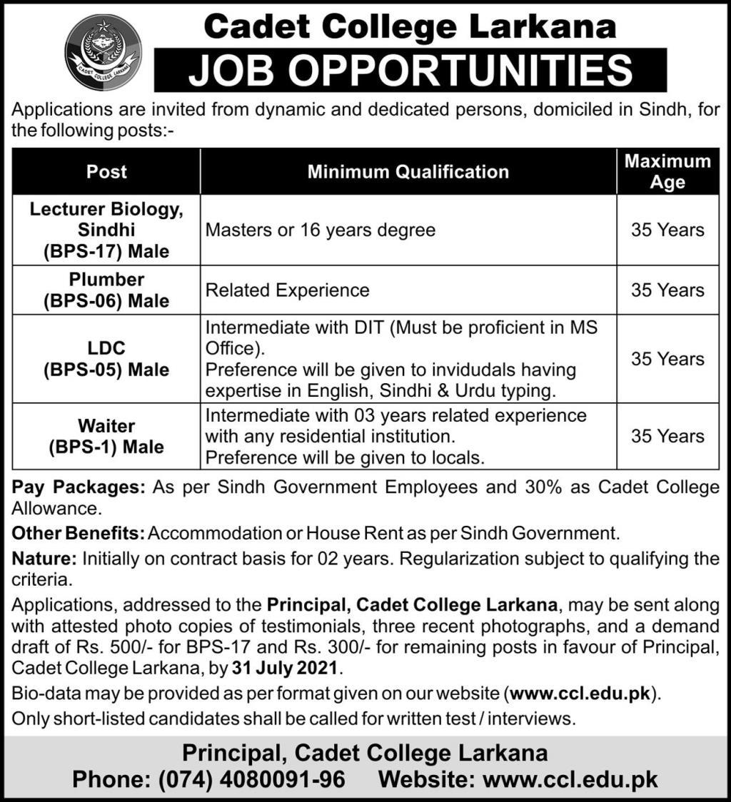 Cadet College Larkana & Sanghar Jobs 2021 Latest Advertisement