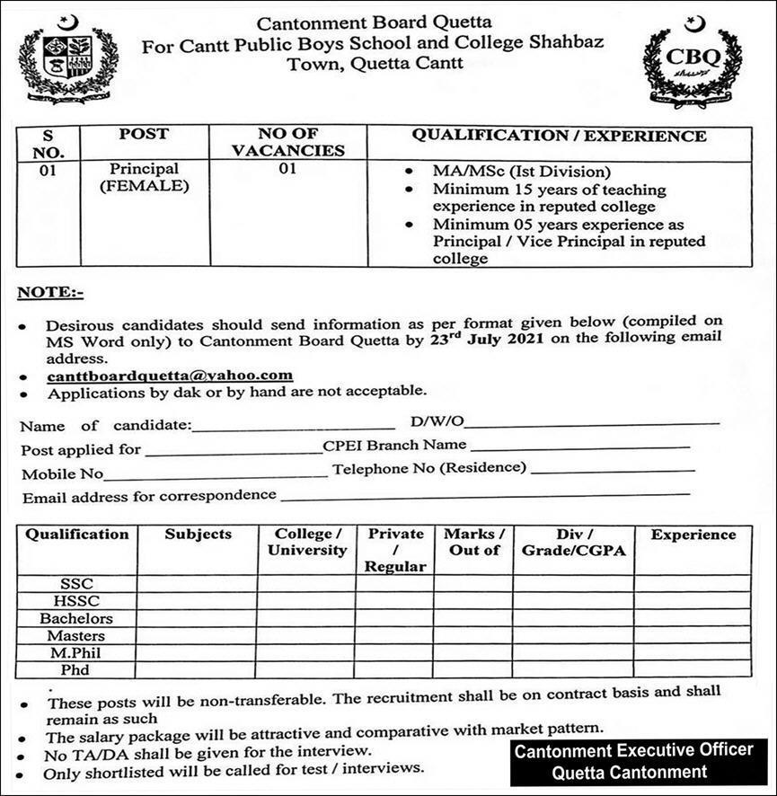Cantonment Board Quetta Jobs 2021 Download Application Form