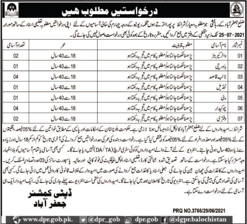 Deputy Commissioner District Office Jobs June 2021 In Jaffarabad Balochistan
