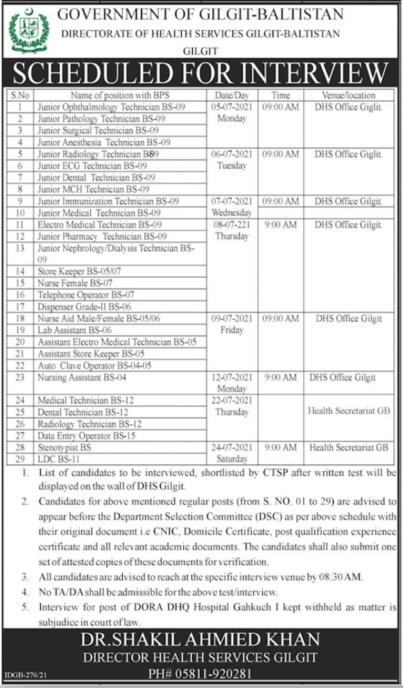 District Health Office Gilgit Baltistan Jobs 2021 Health Department
