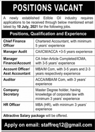 Edible Oil Industry Private Jobs 2021