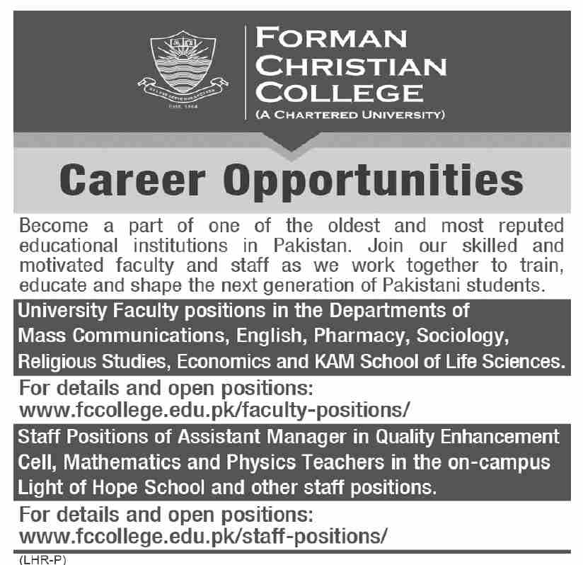 Forman Christian FC College Lahore Jobs 2021 Faculty Staffing