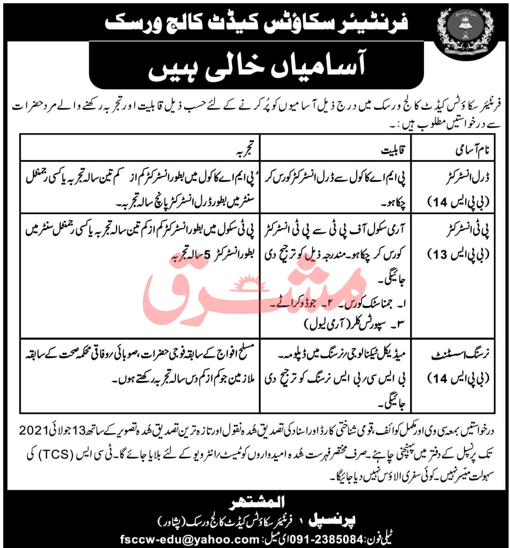 Frontier Scouts Cadet College Warsak Peshawar Jobs 2021