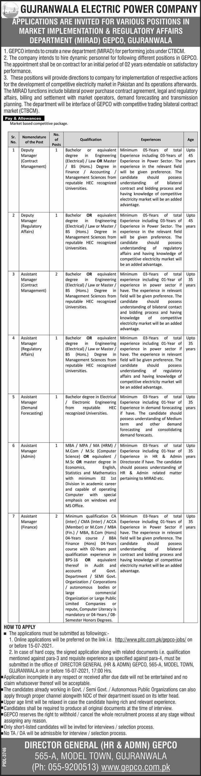 GEPCO Jobs 2021 Gujranwala Electric Power Company pitc.com.pk