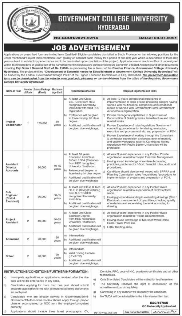 Government College University GC Hyderabad Jobs 2021