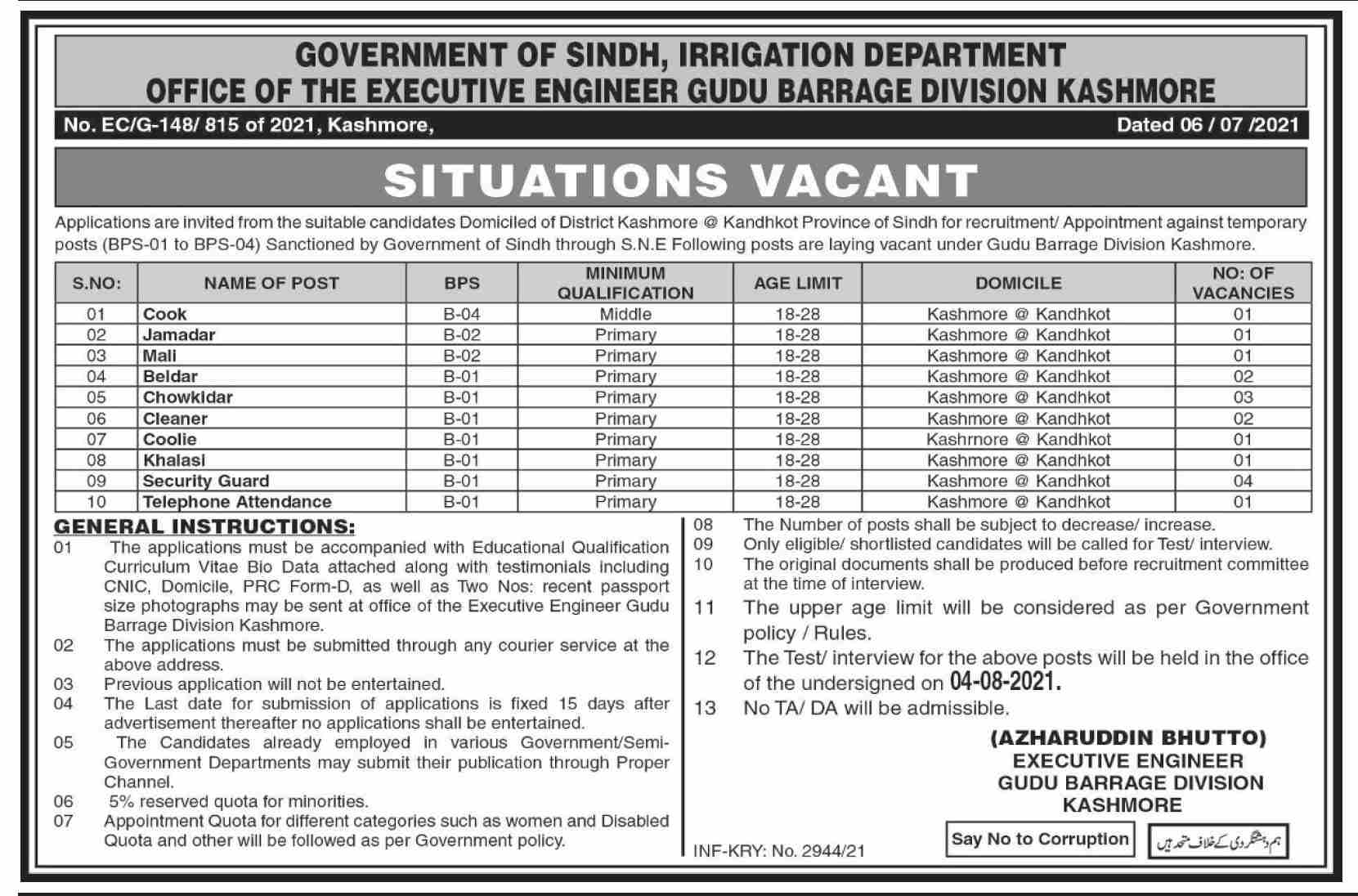 Govt of Sindh Irrigation Department Jobs 2021