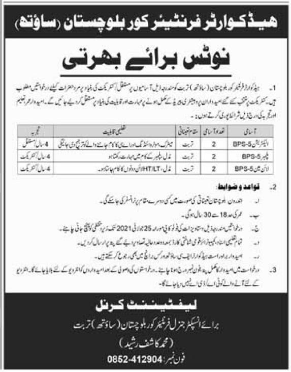 Head Quarter Frontier Crop Baluchistan Electrician Jobs 2021