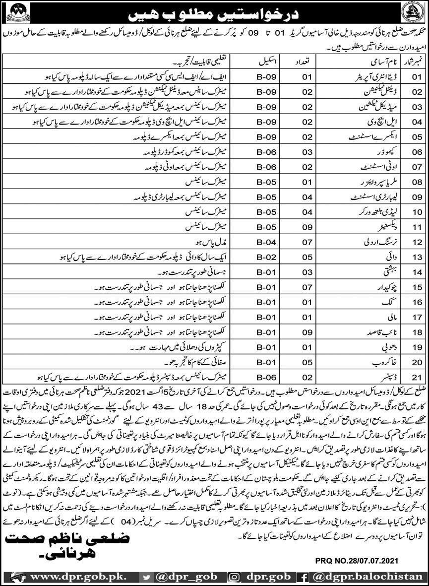 Health Department Harnai Balochistan Jobs 2021 Advertisement
