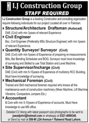 I.J Construction Group Jobs 2021 for Civil Engineer
