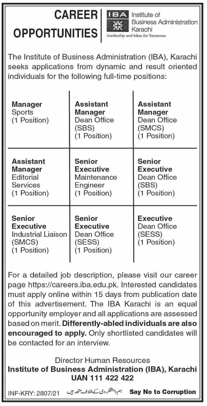 IBA Management Karachi Jobs 2021 in Institute of Business Administration