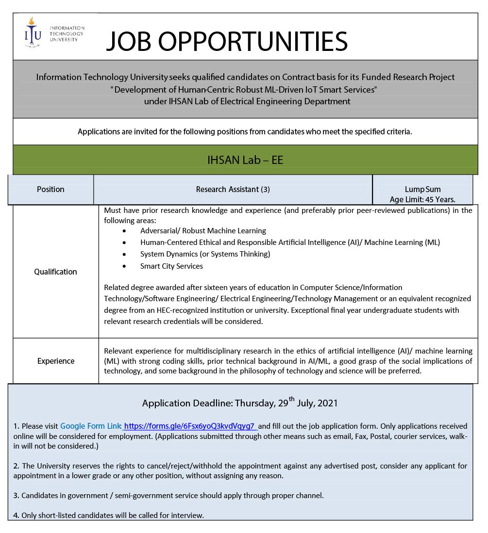 Information Technology University ITU Research Assistant Jobs 2021