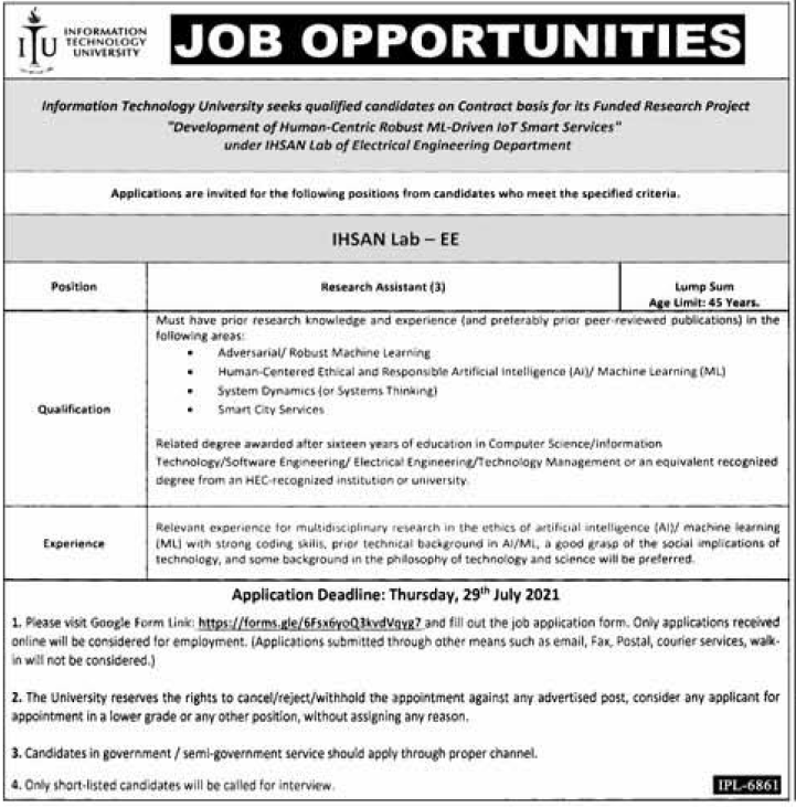 Information Technology University Itu Jobs 2021 for Research Assistant