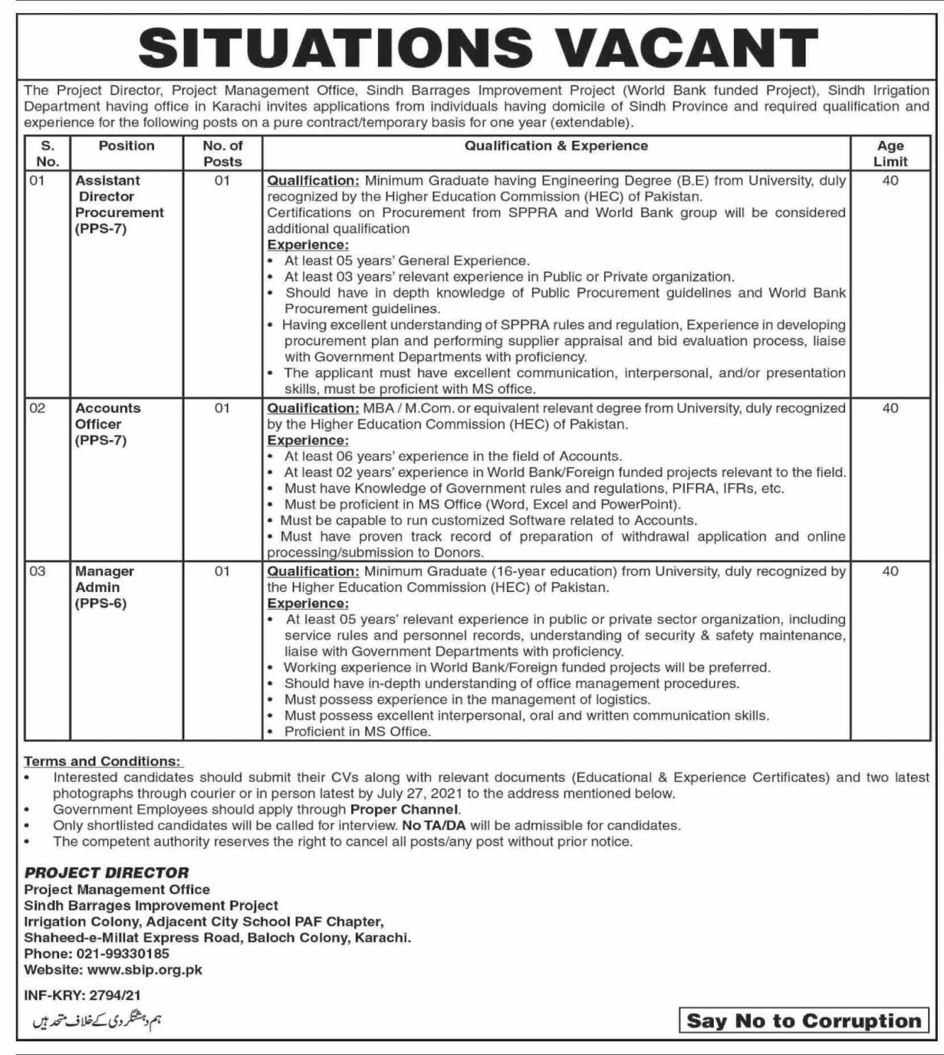 Irrigation Department Jobs 2021 Sindh Barrages