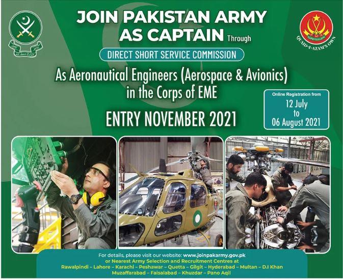 Join Pak Army as Captain Aeronautical Engineer Jobs 2021 Online Apply