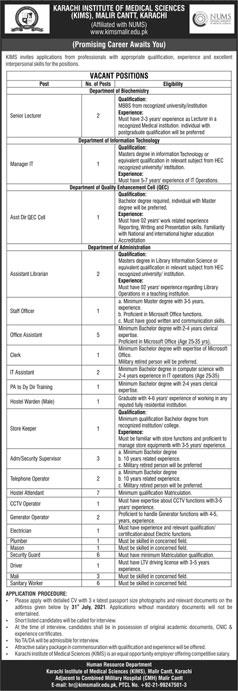 Karachi Institute Of Medical Sciences Kims Jobs 2021 Murtazaweb