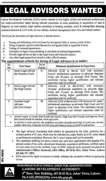 Lahore Development Authority LDA Senior Legal Advisor Jobs 2021