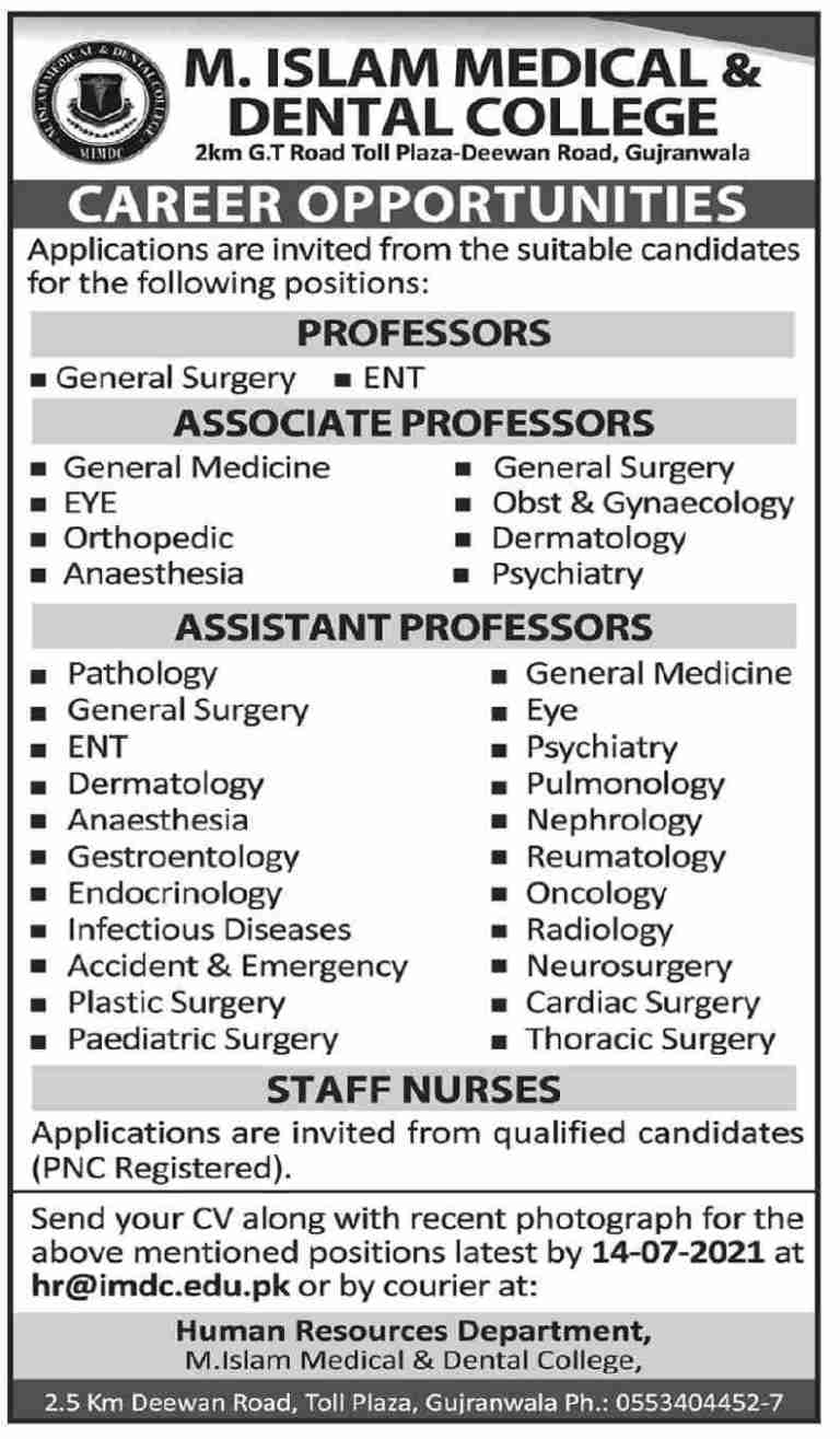 M Islam Medical and Dental College Gujranwala Jobs 2021 for Professor