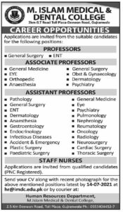 M Islam Medical and Dental College Jobs 2021 for Professor