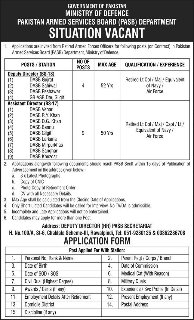 Ministry of Defence Jobs 2021 Download Application Form