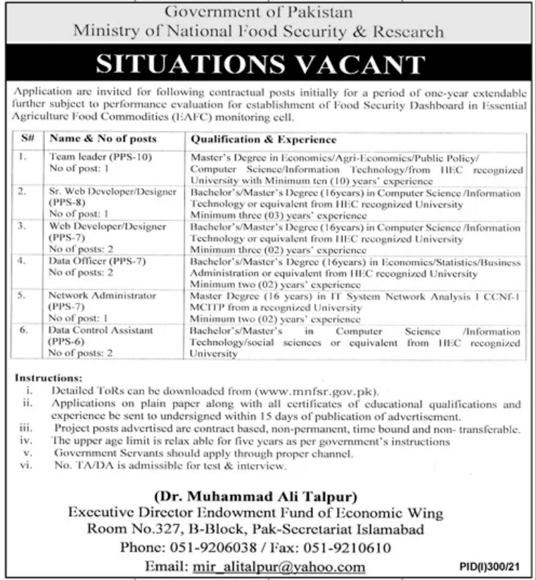 Ministry of National Food Security and Research MNFSR Latest Jobs 2021