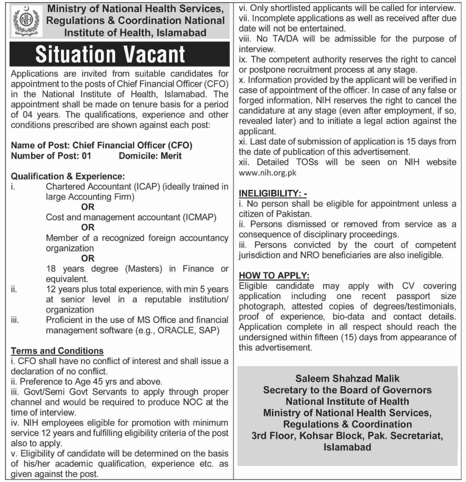 Ministry of National Health Services Jobs 2021 for CEO