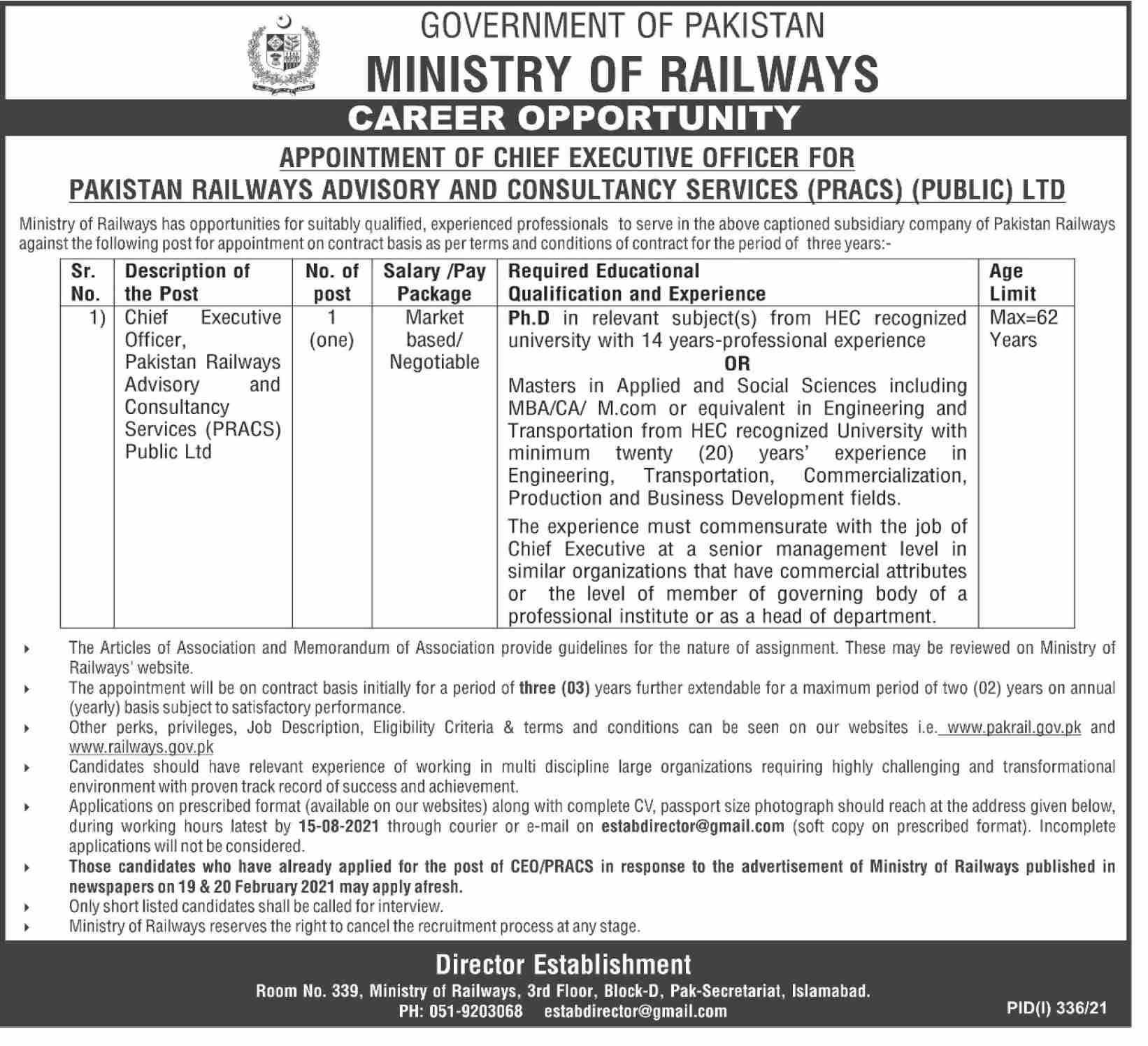 Ministry of Railways Career 2021 for Chief Executive Officer
