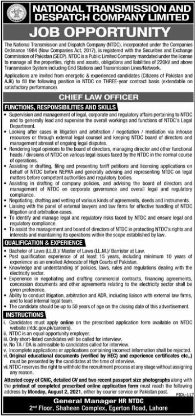 NTDCL Lahore Jobs 2021 for Chief Law Officer