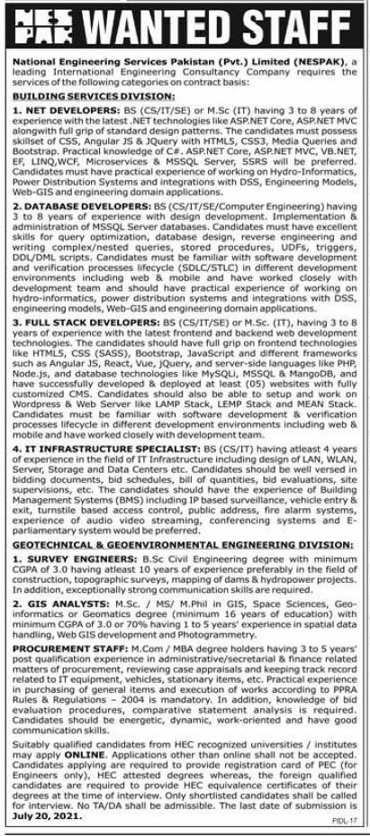 National Engineering Services Pakistan Private Ltd NESPAK Lahore Jobs 2021
