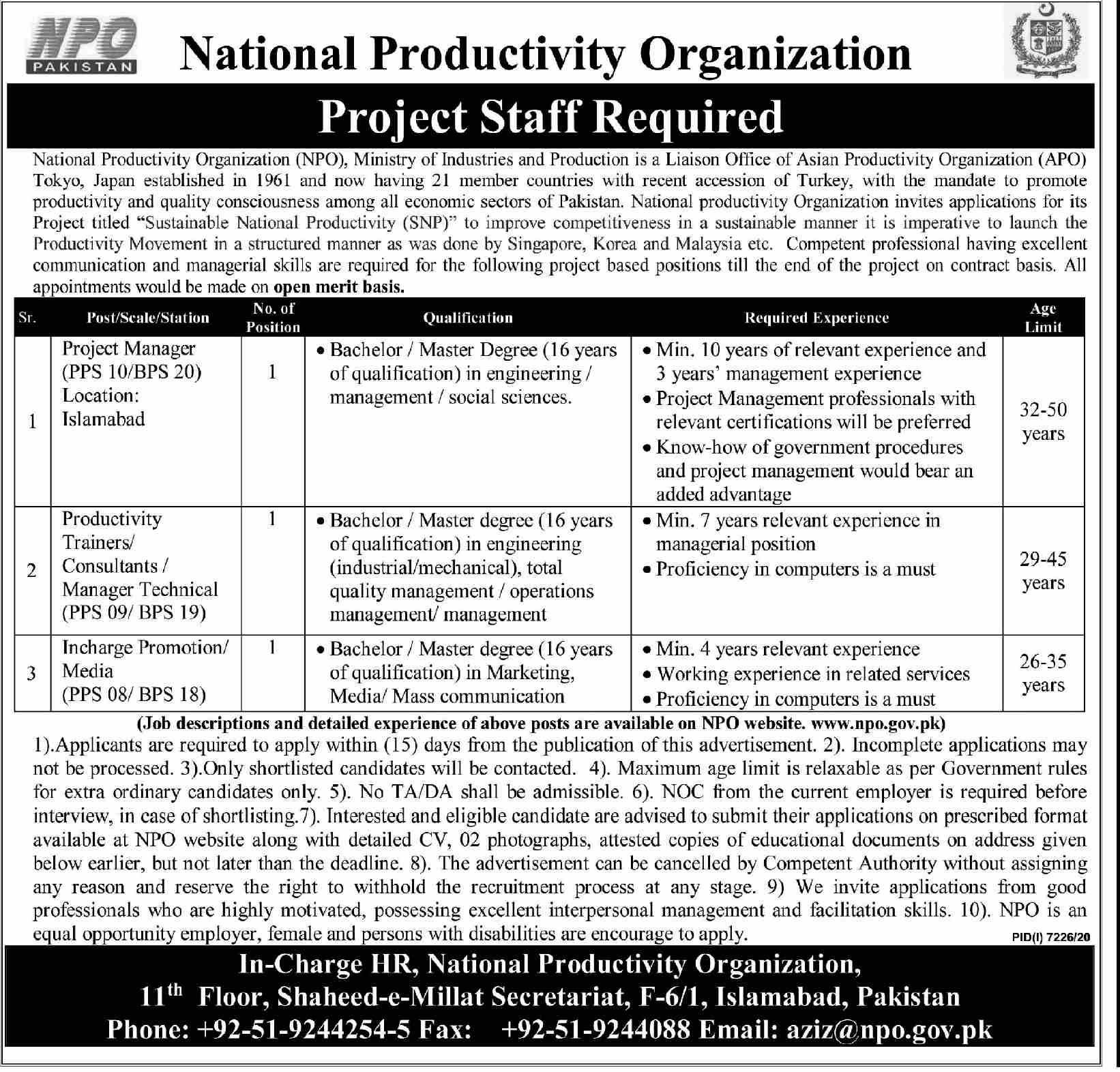 National Productivities Organization Project Manager Jobs 2021