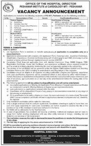 Office of the Hospital Director Peshawar Institute of Cardiology MTI Jobs 2021