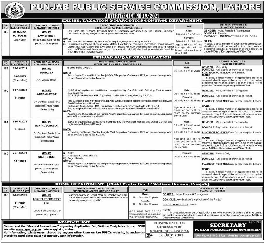 PPSC Jobs 2021 Advertisement No. 19 Apply Online