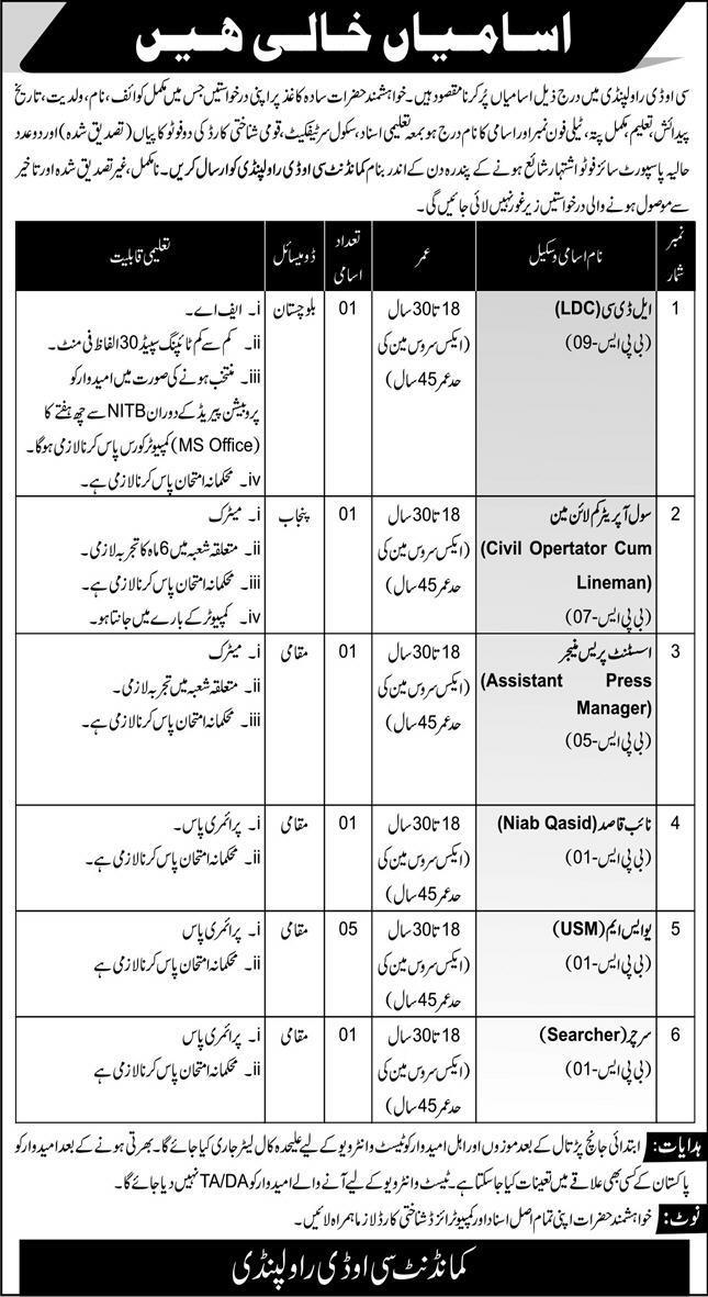 Pak Army Central Ordnance Depot Rawalpindi Jobs 2021