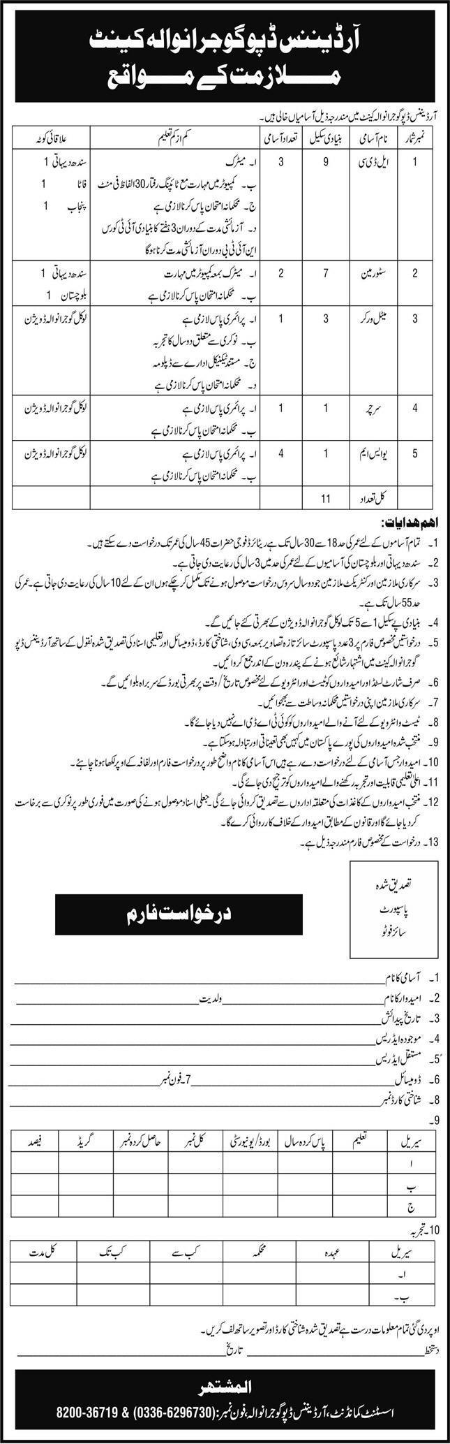 Pakistan Army Ordnance Depot Gujranwala Cantt Jobs 2021 for LDC, USM