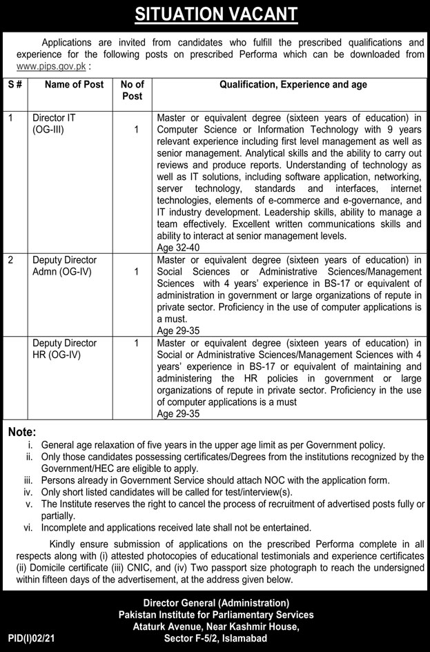 Pakistan Institute Of Parliamentary Services PIPS Islamabad Latest Jobs 2021
